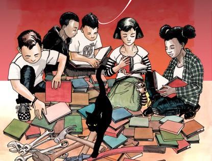 [Bild: Kinder mit Büchern und Katze]